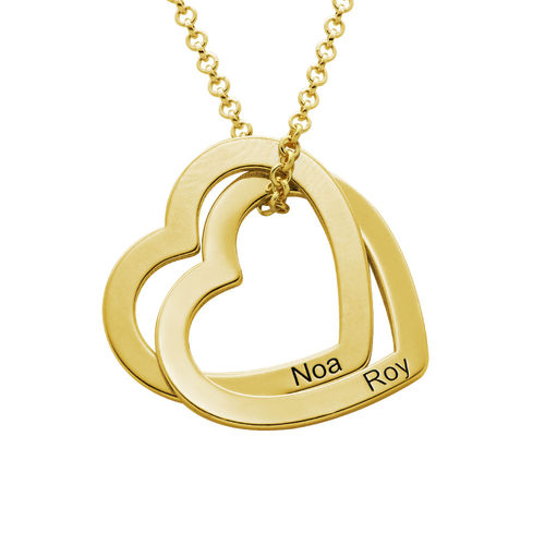 Interlocking Hearts Necklace  with 18ct Gold Plating