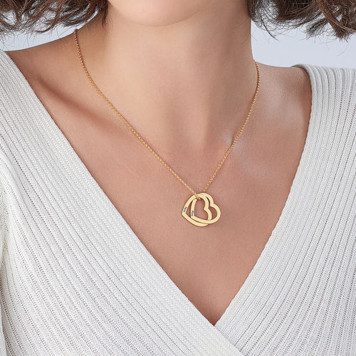 Interlocking Hearts Necklace  with 18ct Gold Plating - 2