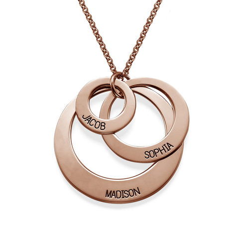 Jewellery for Mums - Three Disc Necklace with Rose Gold Plating - 1
