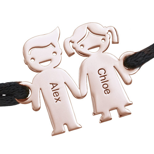 Kids Holding Hands Charms Bracelet - Rose Gold Plated - 1