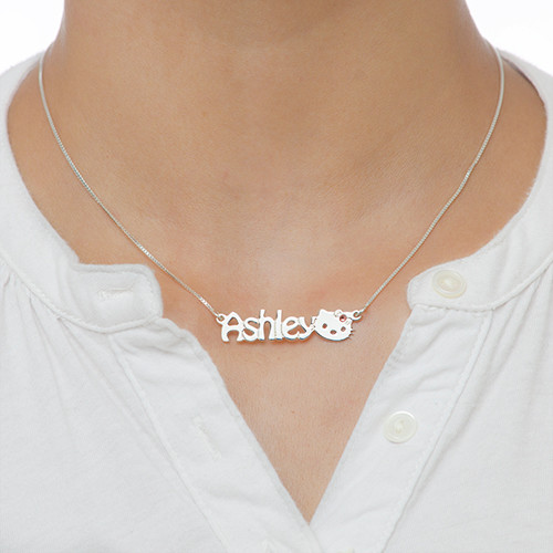 Kitten Nameplate Necklace for Girls - 1