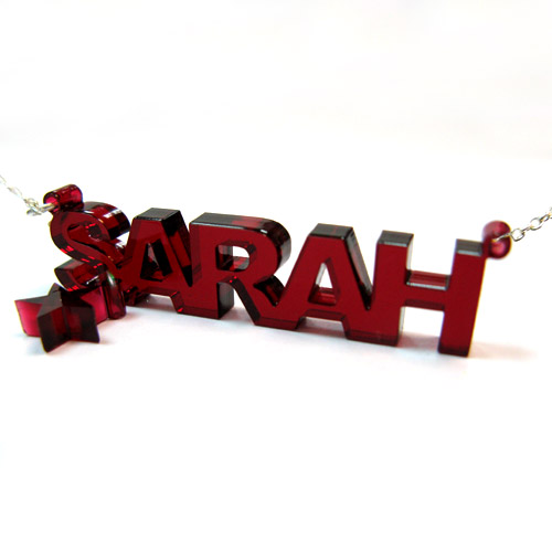 Acrylic Name Necklace with Charm - 1
