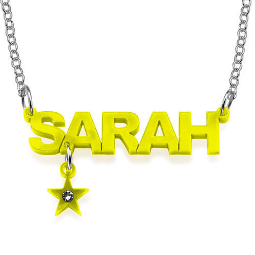 L.A. Style Acrylic Name Necklace with Charm - 2
