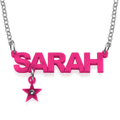 L.A. Style Acrylic Name Necklace with Charm - 3