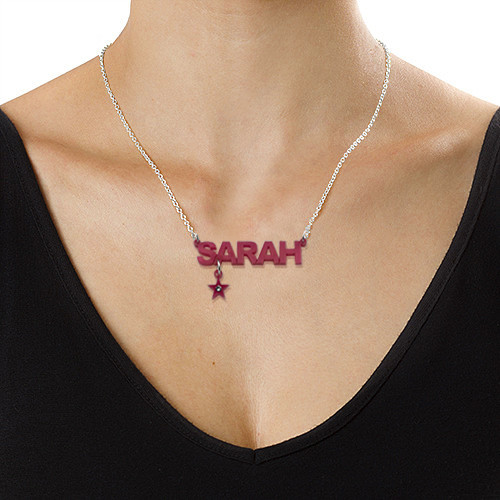 L.A. Style Acrylic Name Necklace with Charm - 4