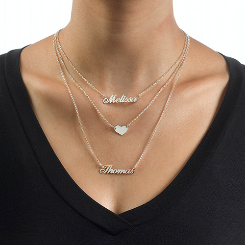 Layered Name Necklace In Sterling Silver Mynamenecklace Au