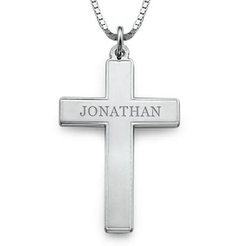 Men's Cross Necklace - Engraved