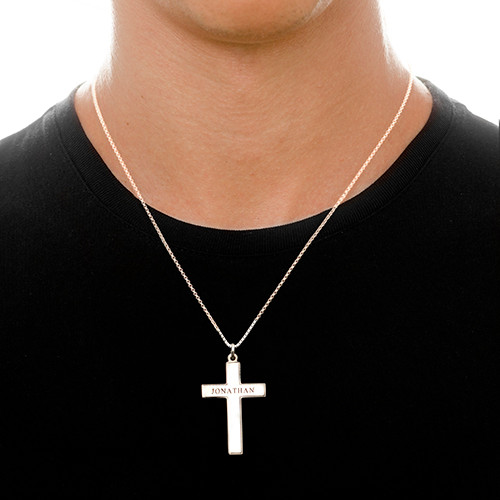 Men's Cross Necklace - Engraved - 1