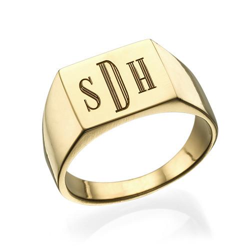 Men's Signet Ring with Gold Plating - Monogram Engraving