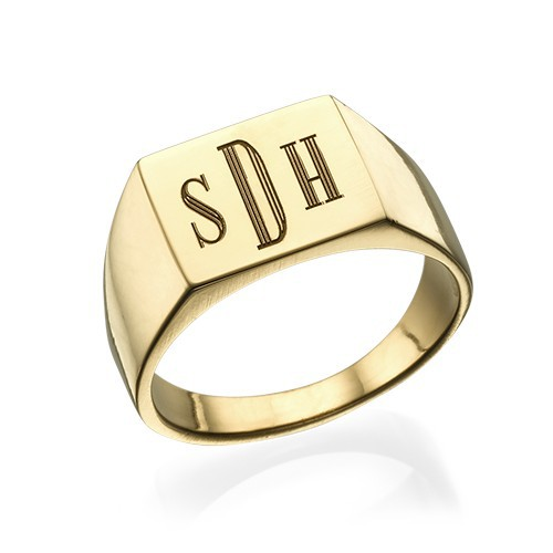 Monogrammed Signet Ring - 18ct Gold Plated