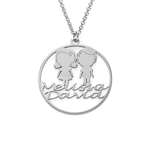 Mother Circle Necklace in Silver Sterling - 1