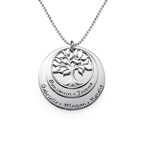 Multi Layered Sterling Silver Family Tree Necklace