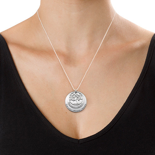 Multi Layered Sterling Silver Family Tree Necklace - 1