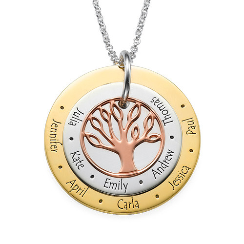 Multi-Tone Family Tree Necklace for mums