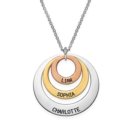 Jewellery for mums -  Multi Tone Three Disc Necklace