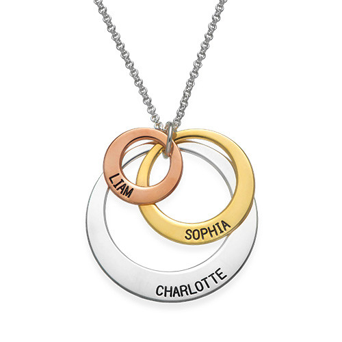 Jewellery for mums -  Multi Tone Three Disc Necklace - 1