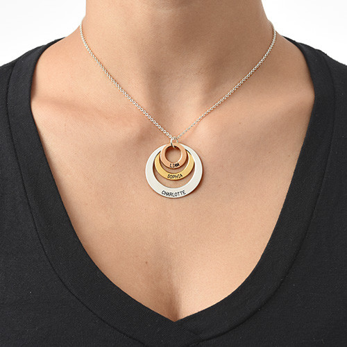 Jewellery for mums -  Multi Tone Three Disc Necklace - 2