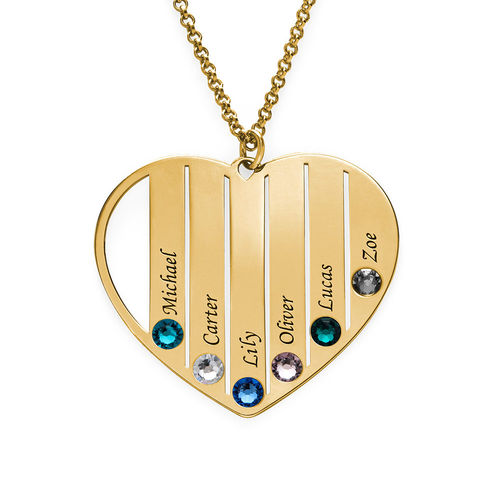 Mum Birthstone necklace in Gold Plating - 1