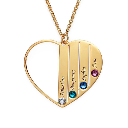 Mum Birthstone necklace in Gold Plating - 2