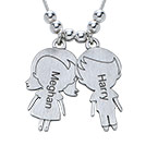 Mum Necklace with Children Charms in Sterling Silver Sterling
