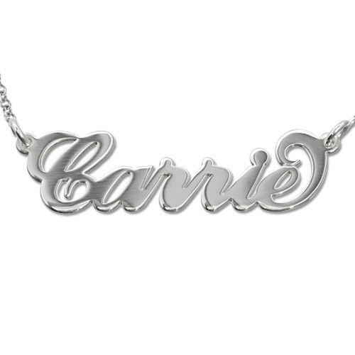 """Sterling Silver """"Carrie"""" Style Name Necklace"""