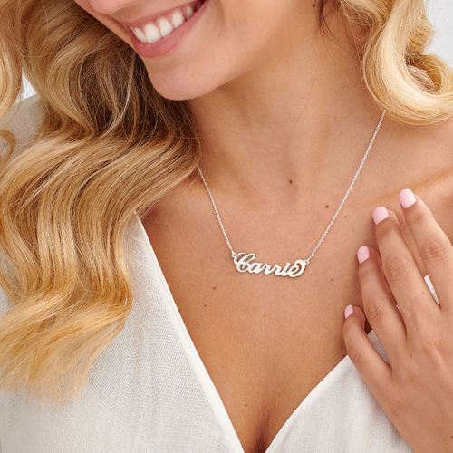 """Sterling Silver """"Carrie"""" Style Name Necklace - 1"""