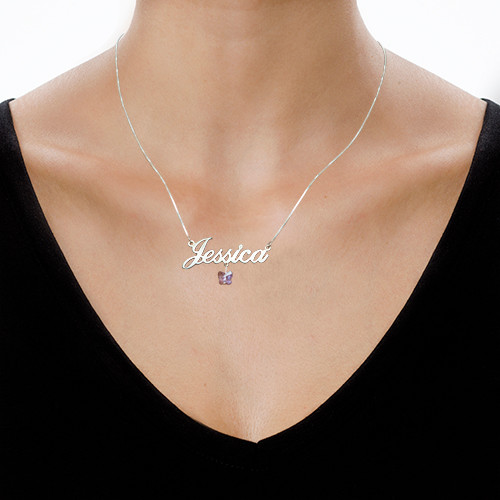 Name Necklace with Swarovski Butterfly - 1