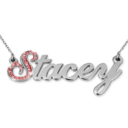 Name Necklace with First Letter in Swarovski