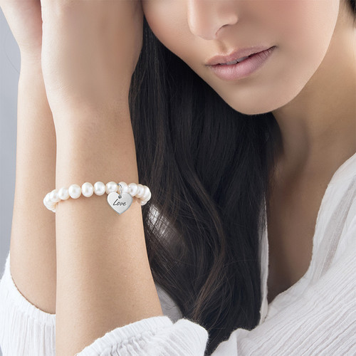 Pearl Bracelet with Engraved Charm - 1