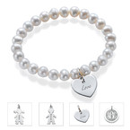 Pearl Bracelet with Engraved Charm