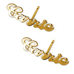 Personalised 14ct Gold Name Earrings