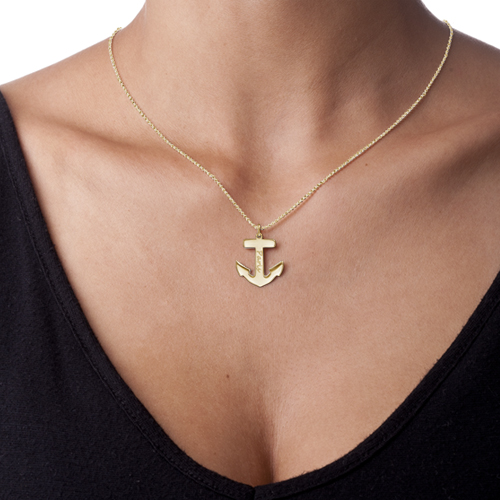 18ct Gold Plated Personalised Anchor Necklace - 1