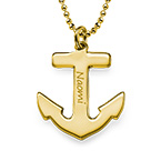 18ct Gold Plated Personalised Anchor Necklace