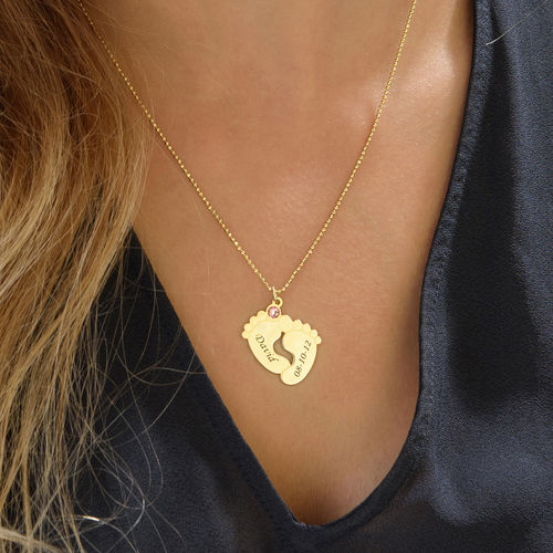 Personalised Baby Feet Necklace with Gold Plating - 2