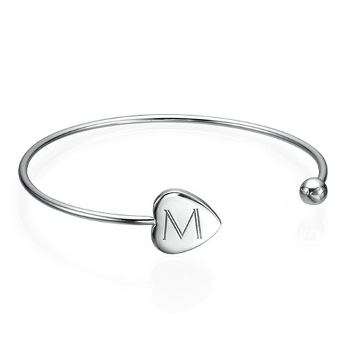 Personalised Bangle Bracelet in Silver - Adjustable
