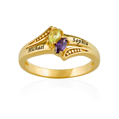 Personalised Birthstone Ring in Gold Plating - 1