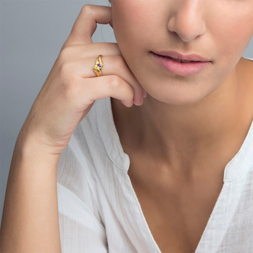 Personalised Birthstone Ring in Gold Plating - 2