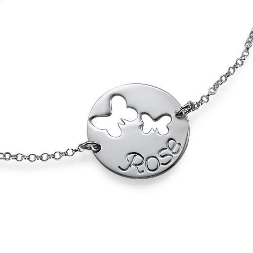 Personalised Butterfly Pendant Bracelet - 1