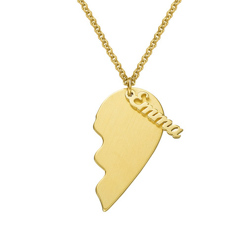 Personalised Couple Heart Necklace in Matte Gold Plating - 1