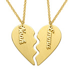 Personalised Couple Heart Necklace in Matte Gold Plating