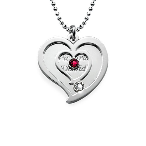 Personalised Couples Birthstone Heart Necklace - 1