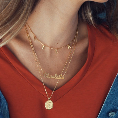 Personalised Jewellery - Cursive Name Necklace in 18ct Gold Plating - 2