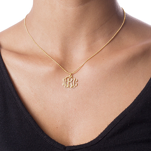 Personalised Monogram Necklace in 10ct Gold - 1