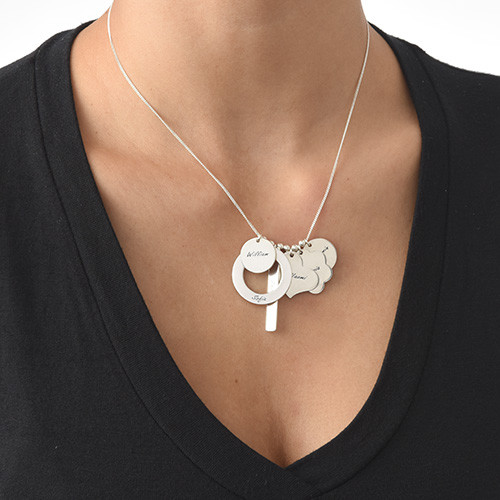 Personalised Multicharm Mothers Necklace in Silver - 1