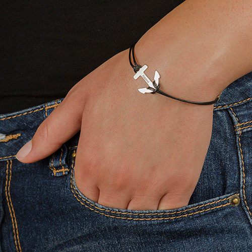 Personalised Silver Anchor Bracelet - 1