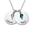 Personalised Silver Disc Necklace With Birthstones