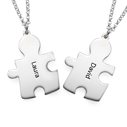 Personalised Couple's Puzzle Necklaces