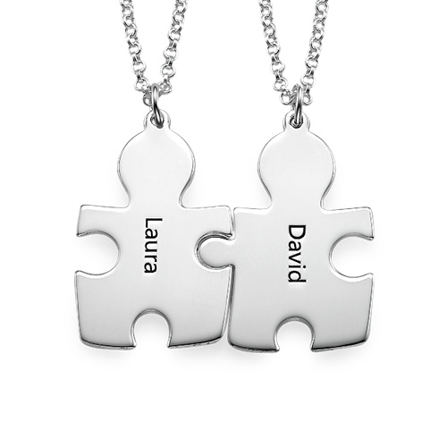 Personalised Couple's Puzzle Necklaces - 1