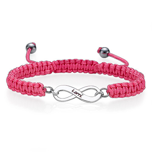 Pink Friendship Bracelet With Infinity Pendant