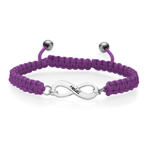 Pink Friendship Bracelet With Infinity Pendant - 3